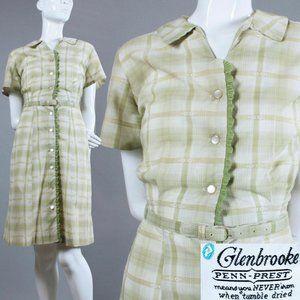XXL Vintage 50s Glenbrook Plaid Cotton Day Dress